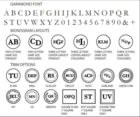 Garamond monogram wax seal stamp styles letterseals.com