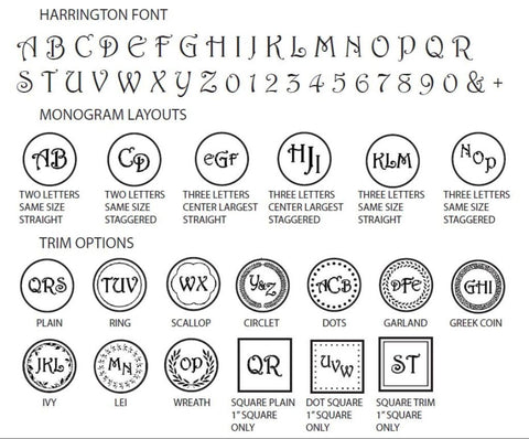 harrington monogram wax seal stamp styles letterseals.com