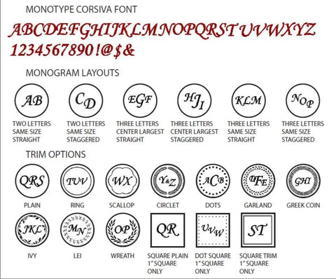 monotype corsiva monogram wax seal stamp styles letterseals.com