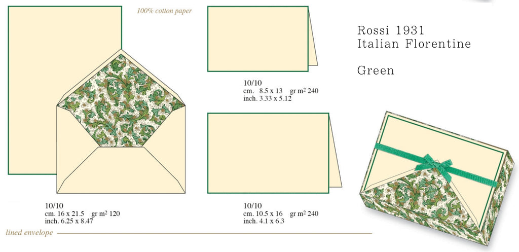 rossi 1931 green florentine stationery letterseals.com
