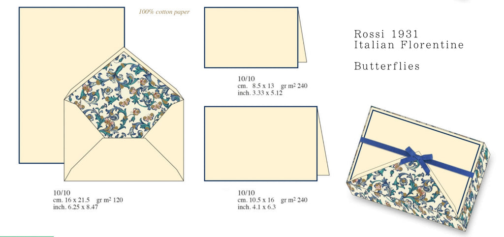 Butterfly Florentine Italian stationery rossi 1931 letterseals.com