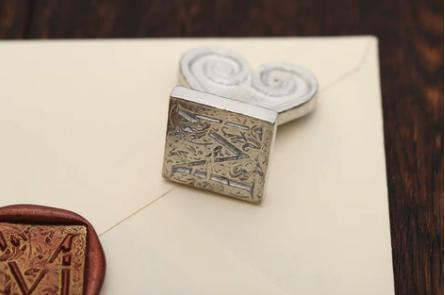 "Ornate 1"" Square Initial Wax Seal Stamp"