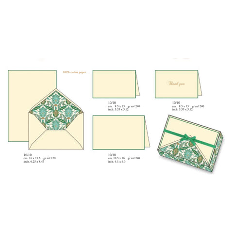 Green Arabesque Pattern | Rossi 1931 Italian Stationery
