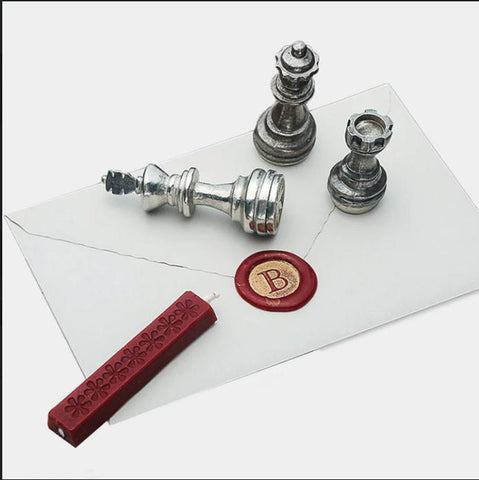 Wax Stamp Initials With Chess Piece Handle