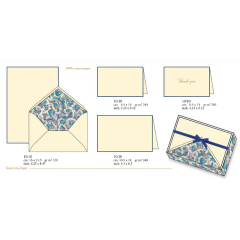 Blue Florentine Pattern | Rossi 1931 Italian Stationery