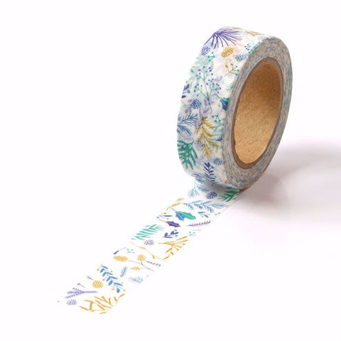 Blue Green Floral Washi Tape