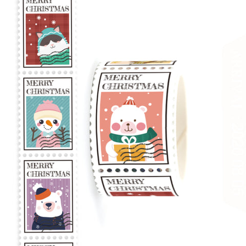 Merry Christmas Postage Themed Washi Tape