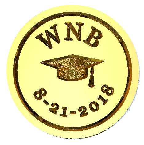 ☀️ Graduation Mortarboard Dated Monogram Wax Seal Stamp