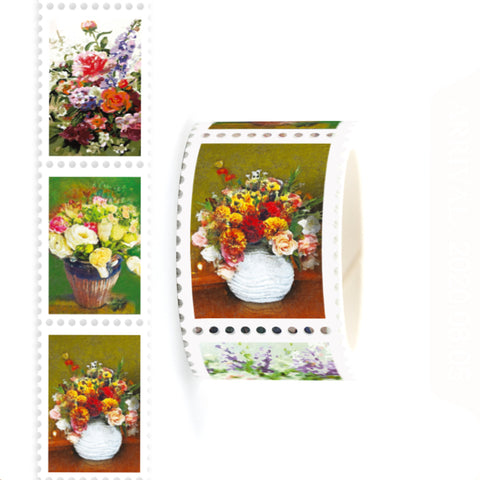 Floral Painting Stamp Style Washi Tape