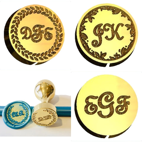 French Script Monogram Wax Seal Stamp - Select Size, Handle & Trim