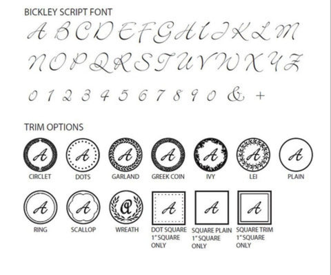 Bickley Script Initial Wax Seal Stamp - Select Size, Handle & Trim