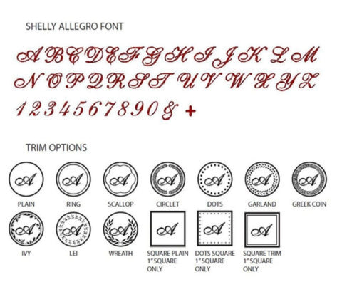 Shelly Allegro Initial Wax Seal Stamp - Select Size, Handle & Trim