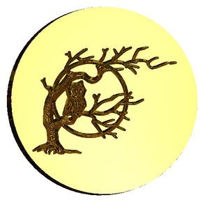 Owl on Branch with Moon Wax Seal Stamp