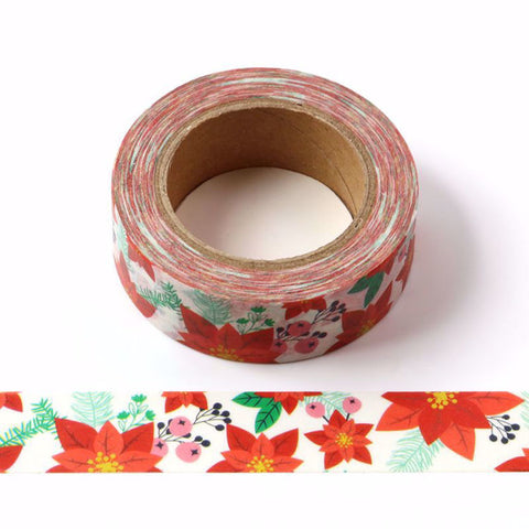 Poinsettia Floral Bouquet Washi Tape