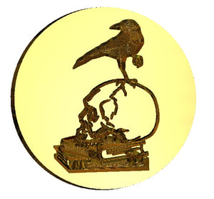 Raven on Skull + Books Wax Seal Stamp