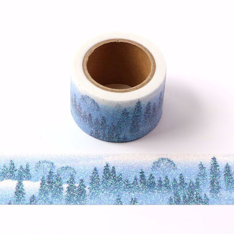 Snowy valley glitter washi tape letterseals.com
