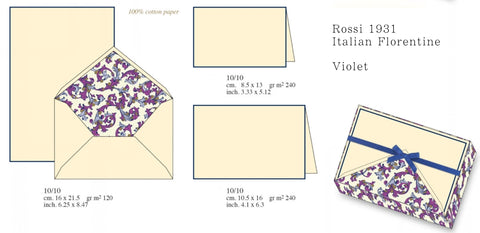 Violet Florentine Pattern | Rossi 1931 Italian Stationery