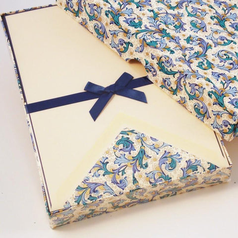 Blue Florentine Pattern Writing Paper | Rossi 1931 Italian Stationery-LetterSeals.com