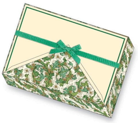 Green florentine note card | Rossi 1931 Italian Stationery Letterseals.com