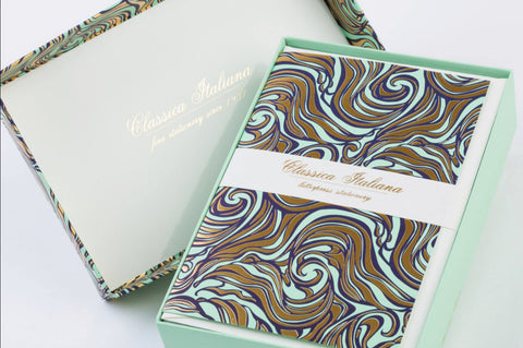 Marbled Classica Italiana Letterpress Stationery | 8 Color Choices | 10 Card Set | Rossi 1931