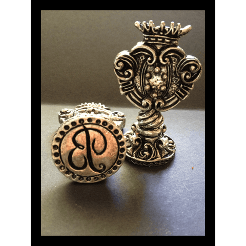 Italian Crafted Silver Script Initial Wax Seal Stamp-LetterSeals.com