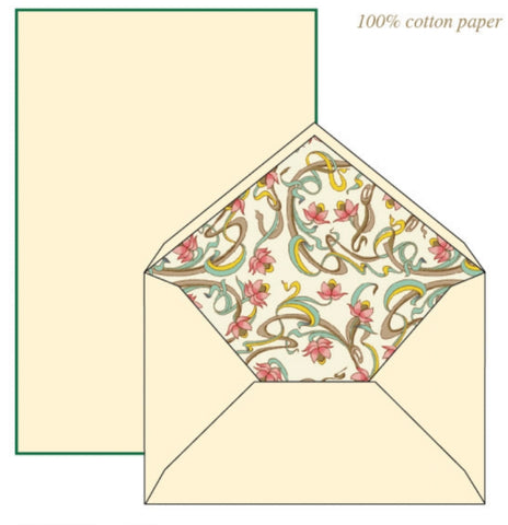Pastel Art Nouveau Flower Pattern | Rossi 1931 Italian Stationery
