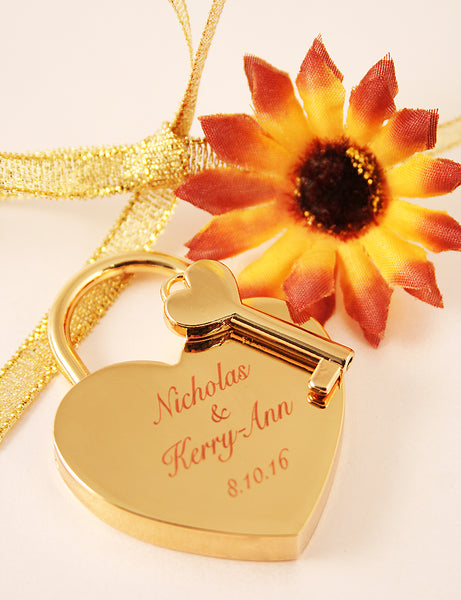 gold love lock engraved with special message