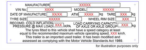 used imported trailer compliance plate
