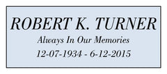 Sample text for urn plate 3 lines. Name uppercase.