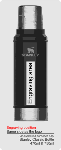 stanley classic flasks engraving area