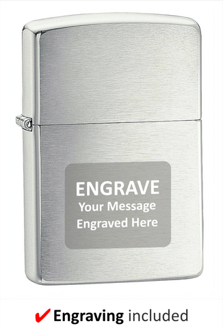Armor Brushed Chrome Zippo Lighter. Engraving Included.