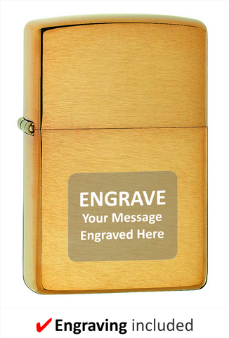 Armor Brushed Brass Zippo Lighter. Engraving Included.