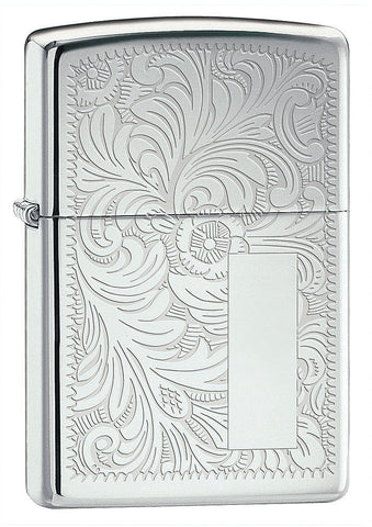 Engravable | Venetian High Polished Chrome Zippo Lighter.