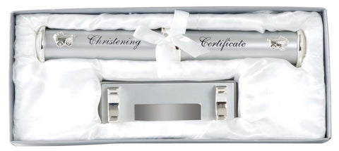 Personalised Christening Certificate Chrome Holder
