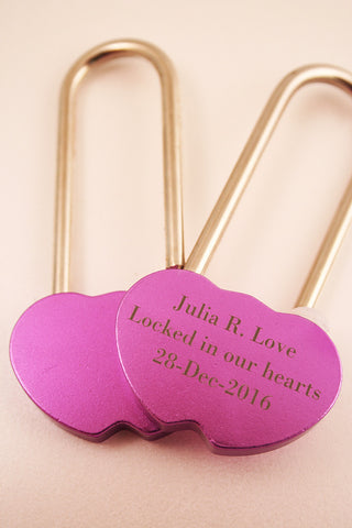 engraved pink long neck double heart love lock and front view