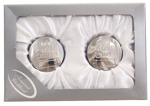 Personalised Silver First Tooth & Curl round keepsake box set