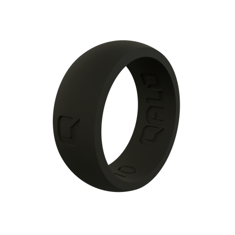 Men's Black Q2X Silicone Ring | Flat