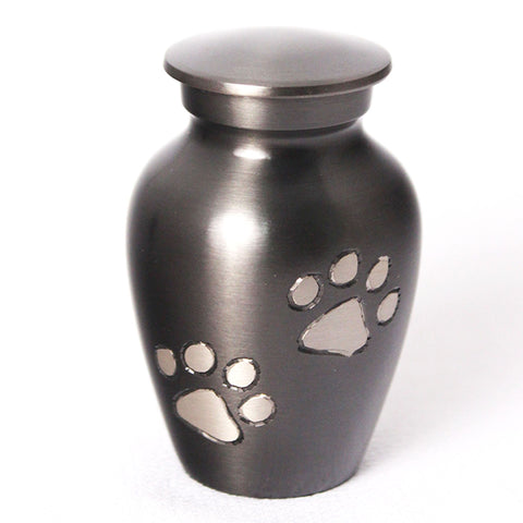 Small (24ml) Pet Urn with Paws. Gunmetal. Engraving included.