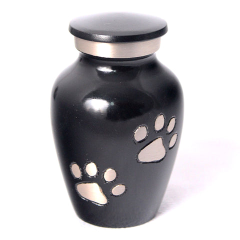 Small (24ml) Pet Urn with Paws. Black. Engraving included.