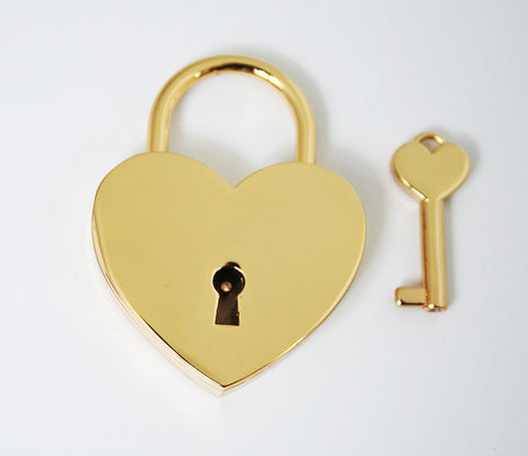 Gold Single Heart Love Lock| Free Shipping & Engraving.