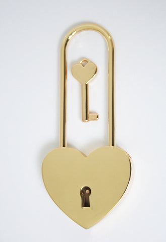 Single Gold long neck Love Lock| Free Shipping & Engraving.