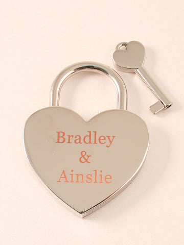 Chrome Single Heart Love Lock| Free Shipping & Engraving.