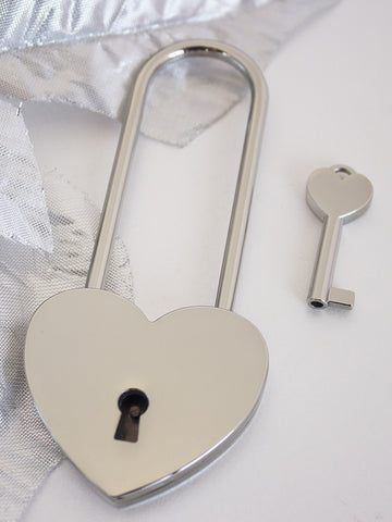Single Chrome Love Lock Long neck| Free Shipping & Engraving.
