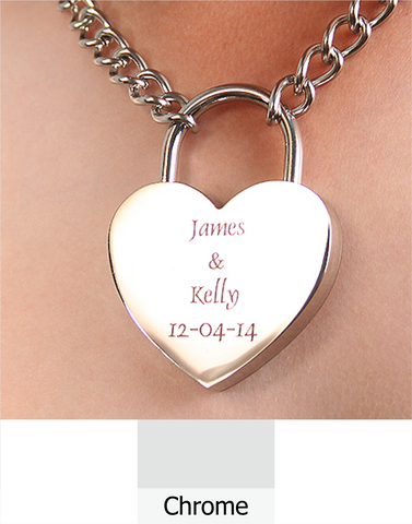 Heart shaped lock choker chain.| Free Shipping & Engraving.