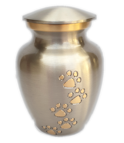 Med. (285ml) Pet Urn with Paws. Silver with gold trim. Engraving included.