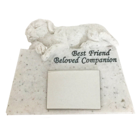 Garden Memorial Stone. Dog figurine. Engraving included.