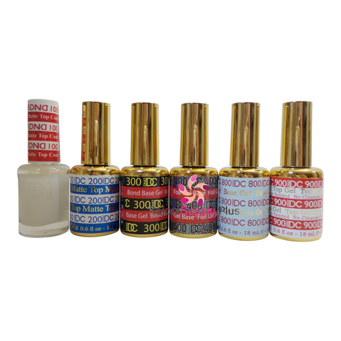 DND DC - 6 Pack Special Set - Matte top, Bond Gel Base, Base Coat, Non Cleanse Top Coat  -  .6 fl oz