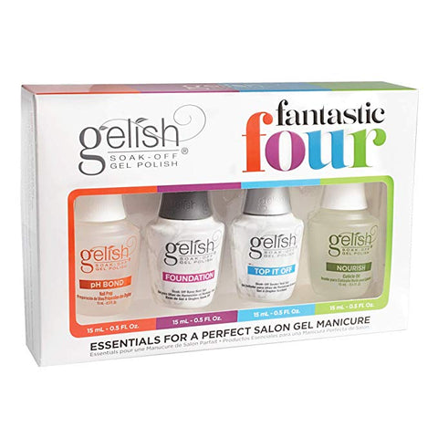 Harmony Gelish - Fantastic 4 Set - Foundation Base, Top it Off, pH Bond, Nourish Cuticle Oil
