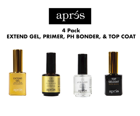 Apres Extend Gel, Primer, pH Bonder, & Top Coat - 4 Pack