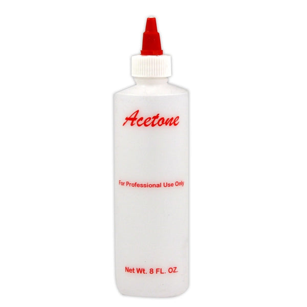 Empty Plastic Printed Acetone Bottle - 8 fl oz (Pack of 6)